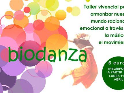 Cartelñ anunciador del taller de biodanza