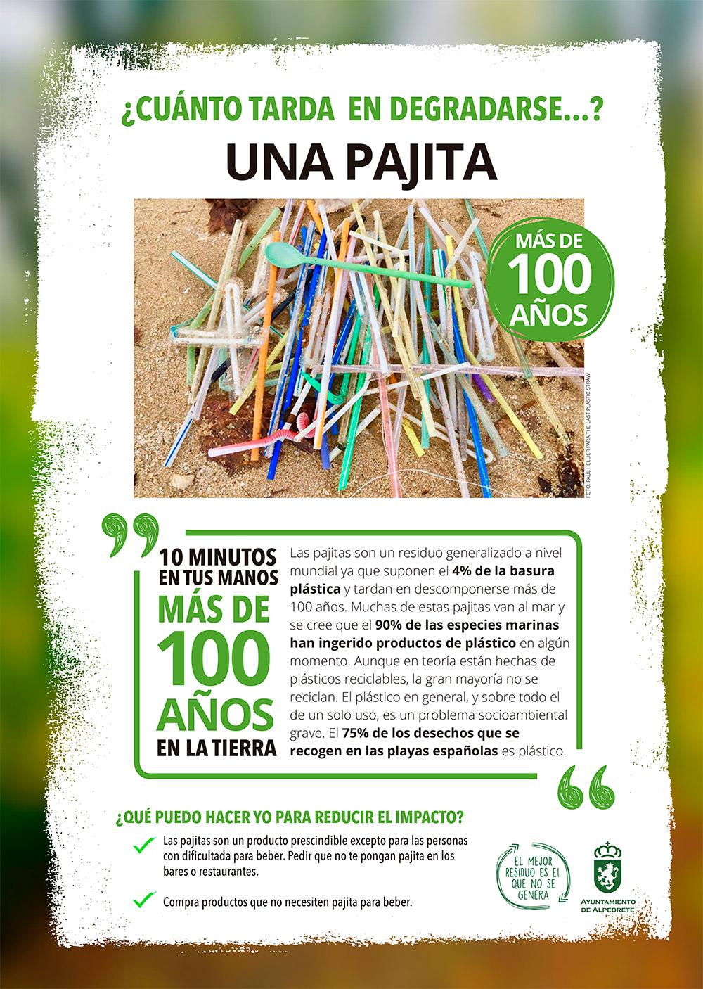 1 Pajita Tarda En Degradarse Más De 100 Años Web Ayuntamiento De Alpedrete
