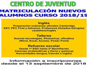 Imagen de la noticia Inscripción talleres Juventud 2018-2019