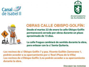 Imagen de la noticia El martes 22 de enero comienzan las obras en la calle Obispo Golfín