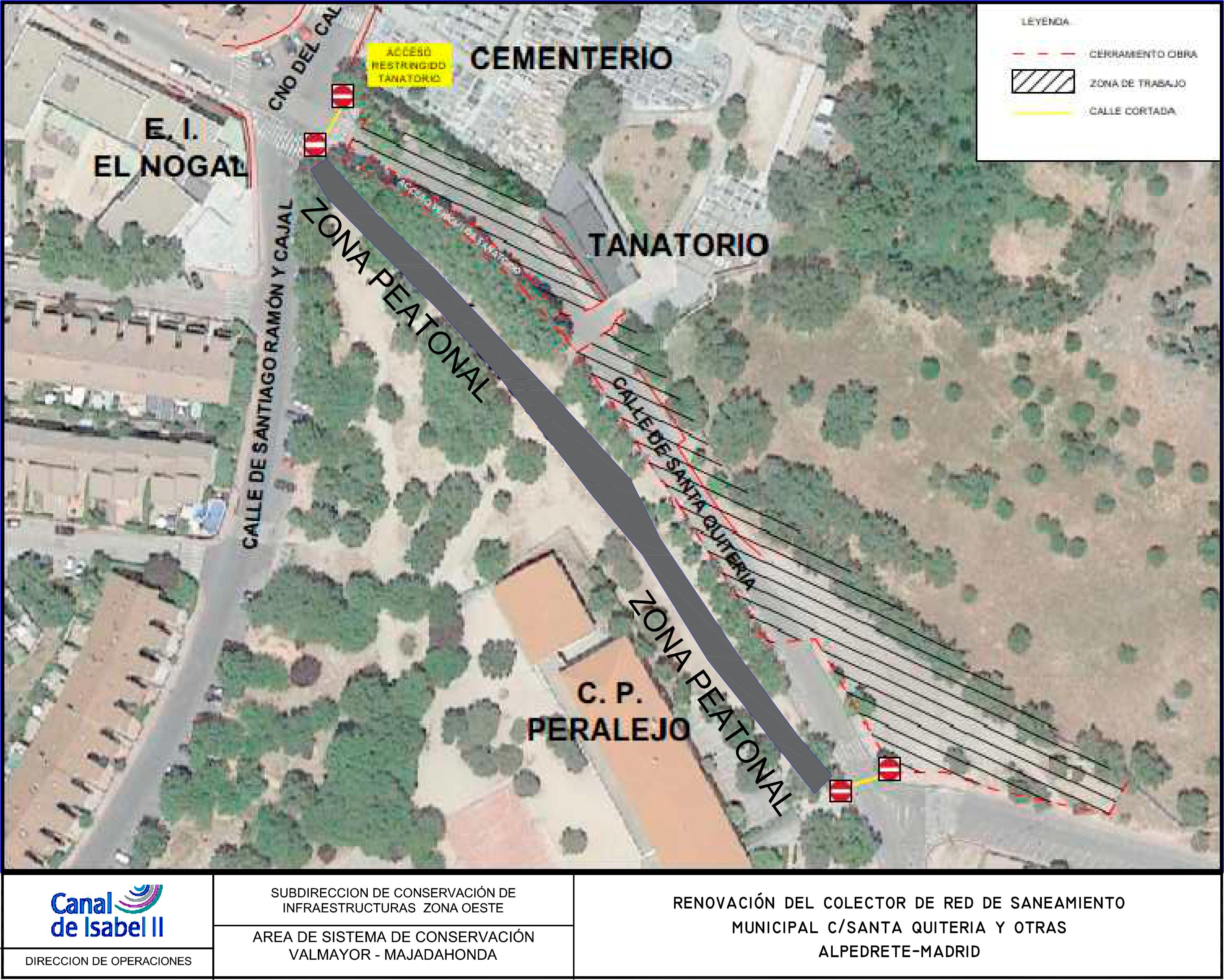 Plano de la calle santa quiteria con las indicaciones de los cortes al trafico.