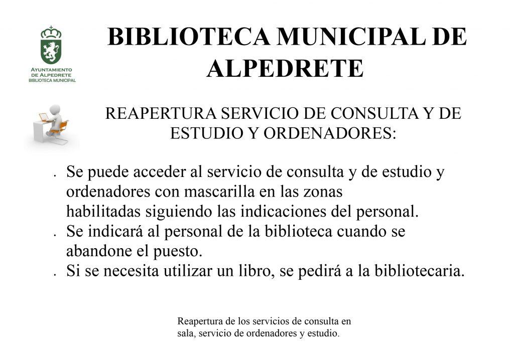 Reapertura servicios biblioteca