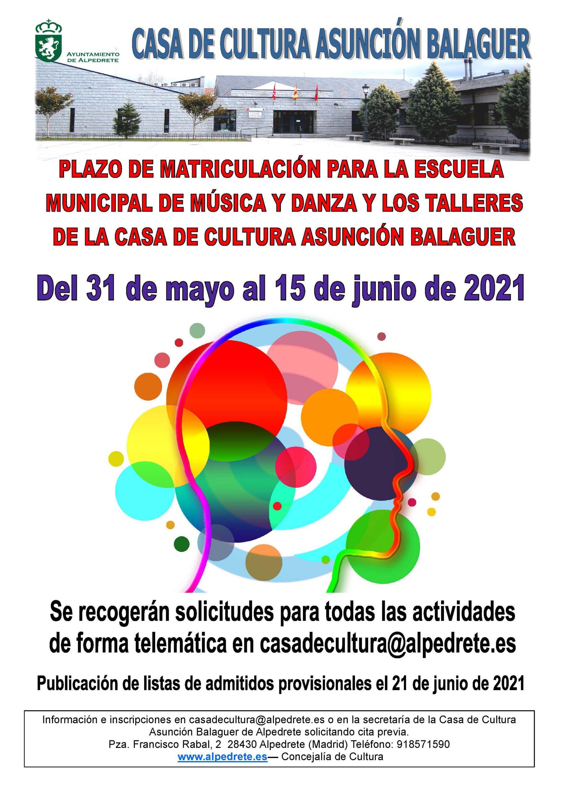 Imagen de la noticia Abierto el plazo de matriculación en la Casa de Cultura para el curso 2021-2022